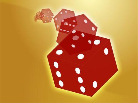 Illustration of translucent rolling red dice showing gambling illustration