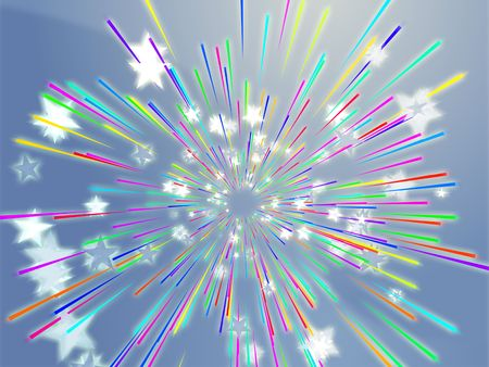 Central bursting explosion of dynamic flying stars, abstract illustration Stock Illustration - 3730838