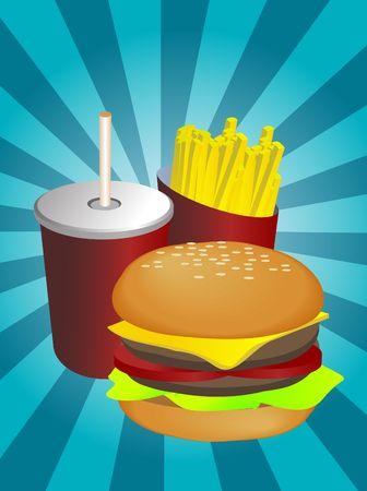 Fast food combo illustration, hamburge fries drink Stock Illustration - 3730774