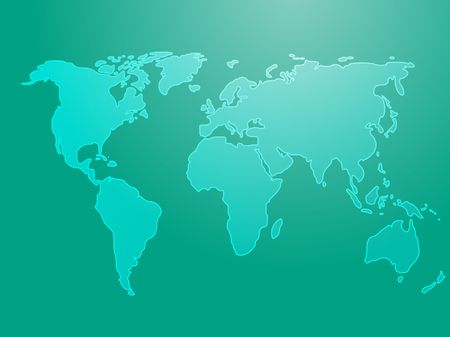 Map of the world illustration, simple outline on gradient color Stock Illustration - 3730739