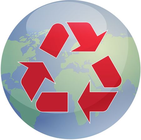 sustain: Recycling eco symbol illustration of three pointing arrows over world globe map