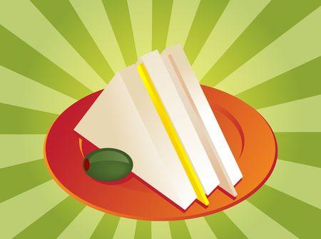 ham sandwich: Ham and cheese club sandwich illustration, triangle cut Stock Photo