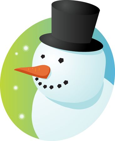 tophat: Smiling cheery snowman in tophat, winter scene illustration