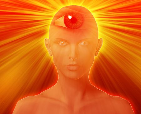 Woman with third eye, psychic supernatural senses Stock Photo - 3745883