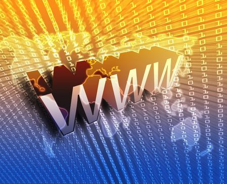 transmitting: WWW Internet, online digital abstract wallpaper illustration Stock Photo
