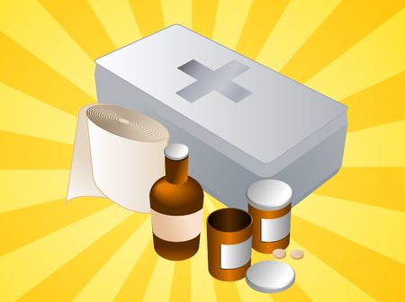 disinfectant: First aid kit and its contents including pills and bandages, illustration