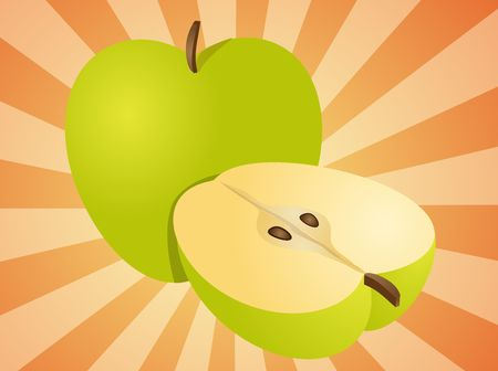 halved: Apple illustration whole and half cross-section isometric view