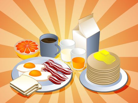 bacon and eggs: Complete breakfast with bacon pancakes coffee milk