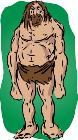 brutish: Caveman illustration, sketch of brutish muscular primitive man