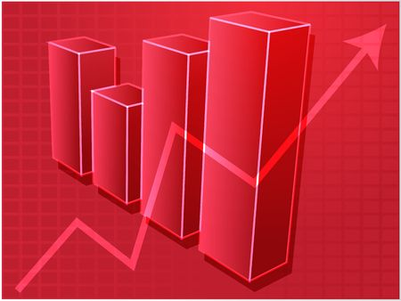 barchart: Three-d barchart and upwards line graph financial diagram illustration over square grid