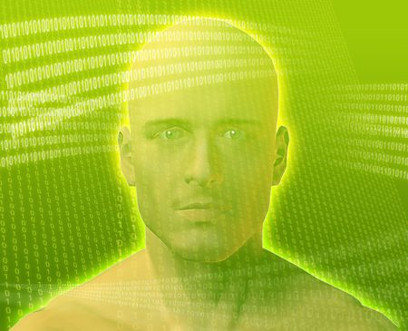 immersed: A mans face, surrounded by digital information