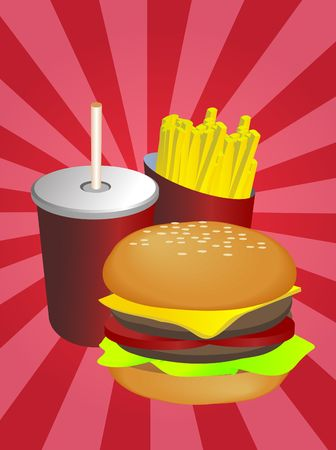 frank: Fast food combo illustration, hamburge fries drink Stock Photo