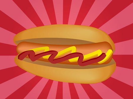 frank: Hot dog illustration, sausage in bun with condiments Stock Photo