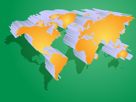 Map of the world illustration, 3d effect Stock Illustration - 3782842