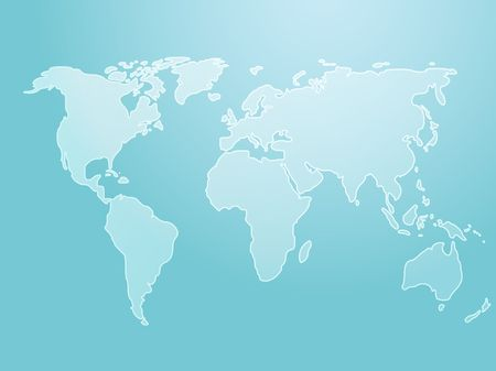 Map of the world illustration, simple outline on gradient color Stock Illustration - 3782461