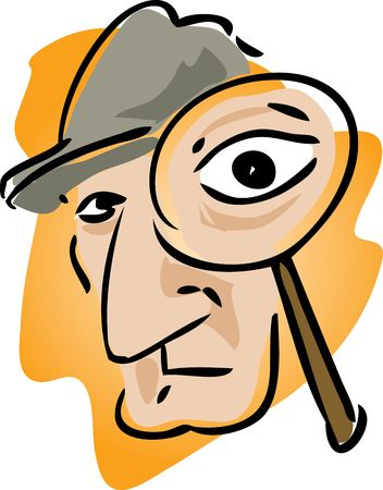 Cartoon illustration of detective with magnifying glass