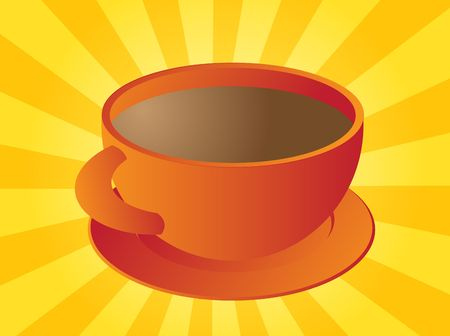 Cup of coffee in round orange ceramic cup Stock Photo - 3783594