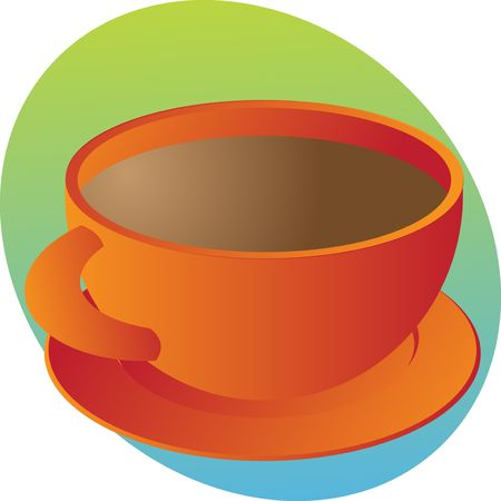 Cup of coffee in round orange cup Stock Photo - 3783653