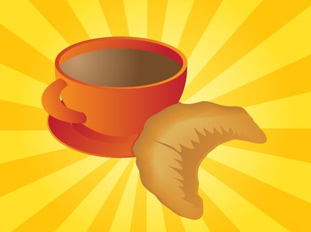 Mug of coffee and croissant pastry illustration illustration