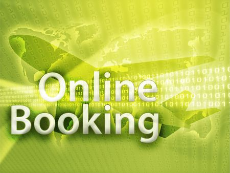 Online travel, illustration of electronic booking reservation Stock Illustration - 3783304