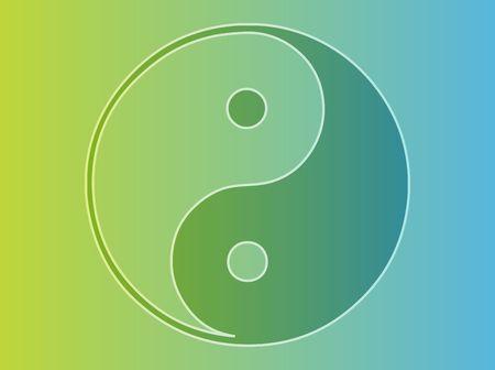 good karma: Yin yang symbol oriental representation of duality Stock Photo