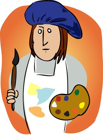 smock: Cartoon illustration of an artist wearing a smock