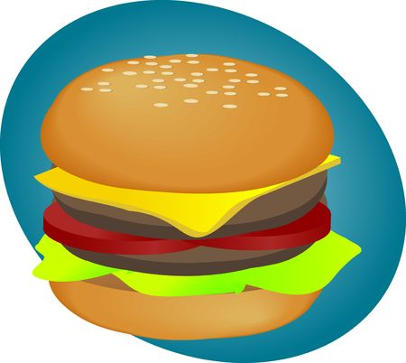 Hamburger with cheese tomatoes and lettuce. fastfood illustration illustration