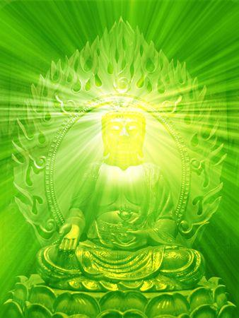 Buddha religious illustration with glowing light halo Stock Illustration - 3802333