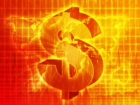 greenbacks: US Dollar symbol over world map