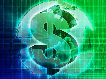 greenbacks: US Dollar symbol over globe of americas