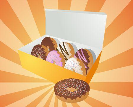 junky: Box of assorted donuts illustration on radial burst