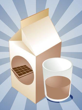 milk carton: Chocolate milk carton with filled glass illustration
