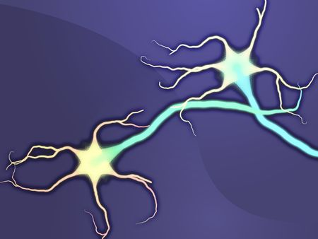 dendrites: Illustration of neuron nerve cells abstract graphic render