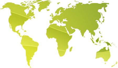 Map of the world illustration, simple outline gradient colors Stock Illustration - 3802181