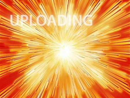 uploading: Uploading illustration, showing information transfer and flow