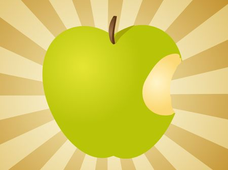 granny smith apple: Apple illustration whole green fruit with bite