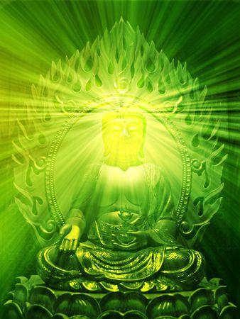 Buddha religious illustration with glowing light halo Stock Illustration - 3857393