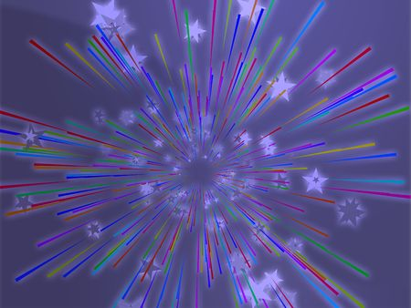 Central bursting explosion of dynamic flying stars, abstract illustration Stock Illustration - 3857383