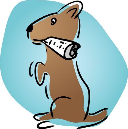 helpful: Helpful cartoon dog fetching newspaper, illustration sketch