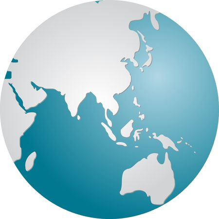 Globe map illustration of the Asia Pacific Stock Photo