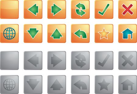 Navigation icon set of glossy buttons, enabled disabled photo