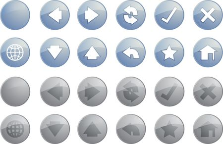 Navigation icon set of glossy buttons, enabled disabled Stock Photo - 3857206