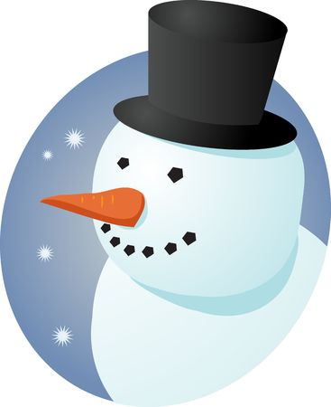 frosty the snowman: Smiling cheery snowman in tophat, winter scene illustration
