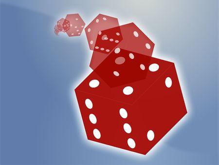 randomness: Illustration of translucent rolling red dice showing gambling