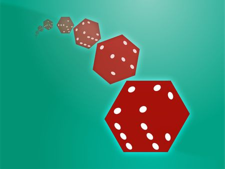 risky: Illustration of translucent rolling red dice showing gambling