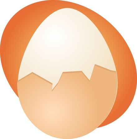 partly: Egg illustration clipart hard boiled partly peeled Stock Photo