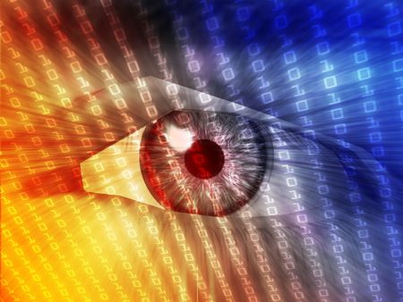 Electronic eye with glowing energy effects, digital illustration illustration