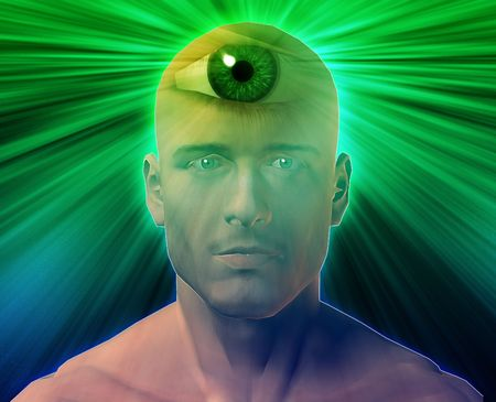 extra sensory perception: Man with third eye, psychic supernatural senses