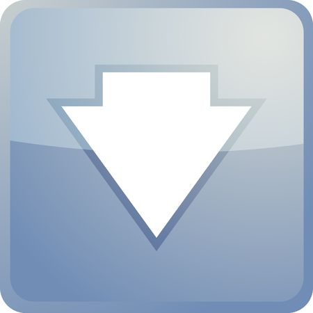 downwards: Down navigation icon glossy button, square shape Stock Photo