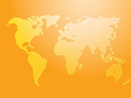 Map of the world illustration, simple outline on gradient color Stock Illustration - 3882720